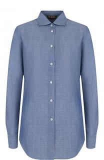 Блуза прямого кроя из смеси льна и хлопка Loro Piana
