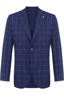 Однобортный пиджак из смеши шерсти и шелка со льном L.B.M. 1911