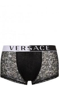 Боксеры с кружевной отделкой на широкой резинке Versace