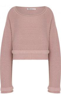 Укороченный пуловер фактурной вязки с круглым вырезом T by Alexander Wang