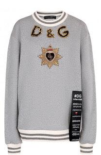Хлопковый свитшот свободного кроя с контрастной отделкой Dolce & Gabbana