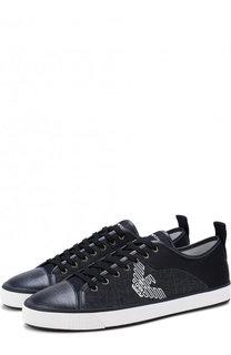Комбинированные кеды на шнуровке Emporio Armani