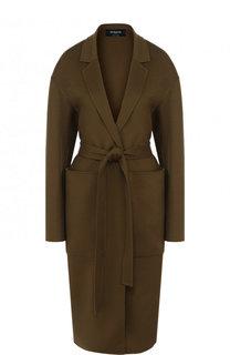Однотонное шерстяное пальто с карманами и поясом Rochas