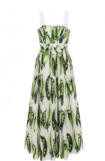 Приталенное хлопковое платье-макси с принтом Dolce & Gabbana