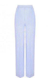 Шелковые брюки прямого кроя в полоску Michael Kors Collection