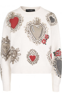Кашемировый пуловер свободного кроя с круглым вырезом Dolce & Gabbana