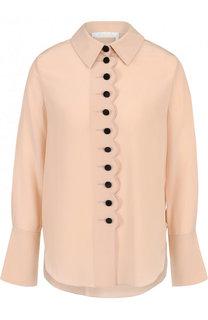 Шелковая блуза прямого кроя с контрастными пуговицами Chloé