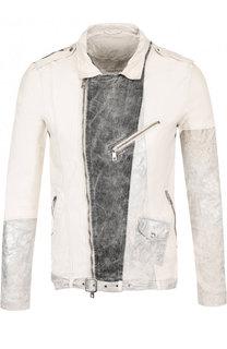 Кожаная куртка на молнии с ремнем Giorgio Brato
