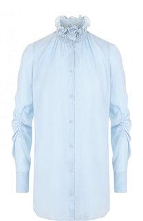 Однотонная шелковая блуза с драпировкой и воротником-стойкой Carven