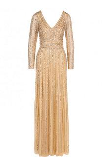 Приталенное платье-макси с V-образным вырезом Basix Black Label