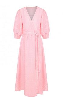 Однотонное льняное платье с коротким рукавом 120% Lino