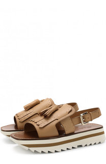 Кожаные сандалии с бахромой Santoni