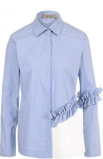 Приталенная хлопковая блуза с контрастной плиссированной вставкой D.Exterior
