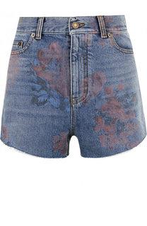 Джинсовые мини-шорты с потертостями Saint Laurent