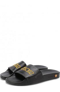 Кожаные шлепанцы с логотипом бренда Versace