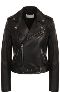 Однотонная кожаная куртка с косой молнией BOSS