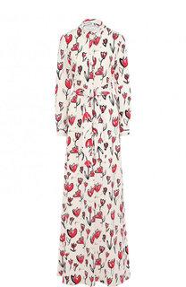 Шелковое платье-макси с принтом и поясом Oscar de la Renta