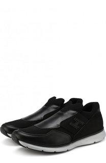 Кожаные кроссовки без шнуровки с текстильной отделкой Hogan