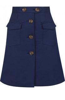 Однотонная хлопковая мини-юбка REDVALENTINO