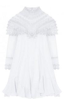 Шелковое мини-платье свободного кроя с воротником-стойкой Chloé