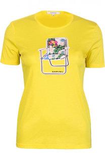 Приталенная хлопковая футболка с принтом и круглым вырезом Carven