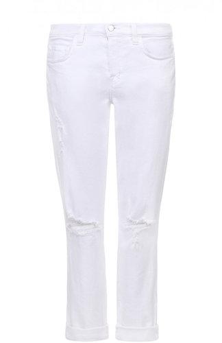 Укороченные джинсы с отворотами и потертостями J Brand
