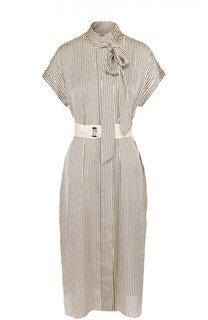 Платье-миди в полоску с воротником аскот и поясом By Malene Birger