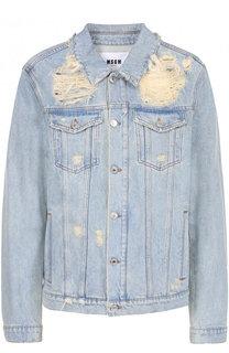 Джинсовая куртка на пуговицах с декоративными потертостями MSGM