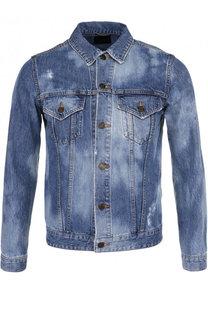 Джинсовая куртка на пуговицах с контрастной отделкой Saint Laurent
