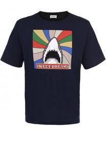 хлопковая футболка свободного кроя с контрастным принтом Saint Laurent