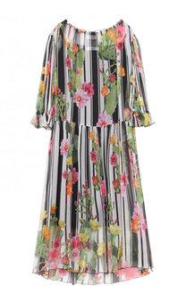 Шелковое платье-миди с цветочным принтом Blugirl