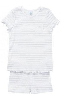Хлопковая пижама в полоску с коротким рукавом Sanetta
