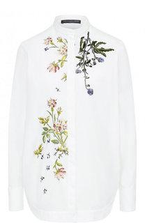 Блуза с воротником-стойкой и цветочной вышивкой Alexander McQueen