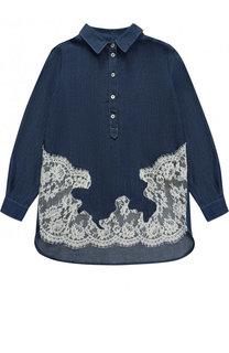 Блуза свободного кроя с кружевными вставками Ermanno Scervino