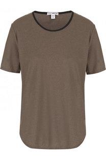Хлопковая футболка с контрастной отделкой выреза James Perse