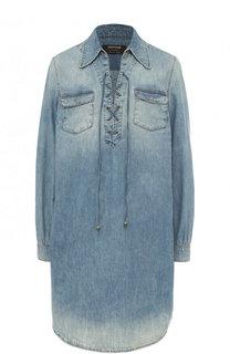 Джинсовое мини-платье со шнуровкой Roberto Cavalli