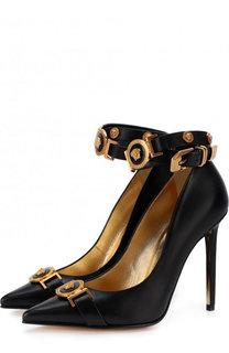 Кожаные туфли Tribute с ремешками на шпильке Versace