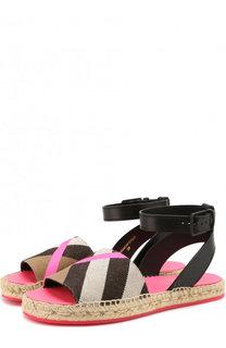 Текстильные сандалии с кожаной отделкой Burberry