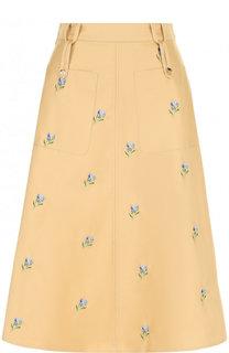 Хлопковая юбка-миди с цветочной вышивкой Golden Goose Deluxe Brand