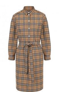 Хлопковое платье-рубашка с поясом Burberry