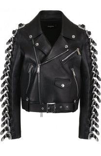 Укороченная кожаная куртка с косой молнией и декоративной отделкой Dsquared2