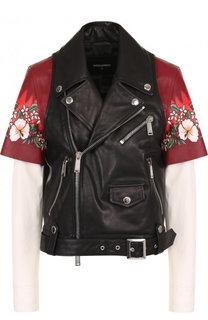 Кожаная куртка с косой молнией и декоративной вставкой Dsquared2
