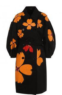 Хлопковое пальто с поясом и принтом Simone Rocha