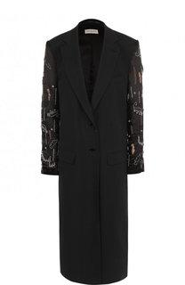 Однотонное пальто из смеси хлопка и вискозы с декорированными  рукавами Dries Van Noten