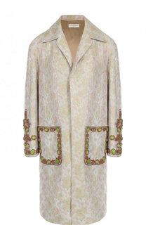 Пальто прямого кроя с накладными карманами и декорированной отделкой Dries Van Noten