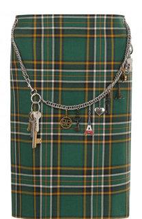 Шерстяная юбка-карандаш в клетку с декорированным поясом Balenciaga