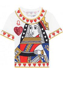 Хлопковая футболка с принтом и пайетками Dolce & Gabbana