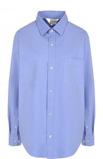 Однотонная блуза из смеси хлопка и льна с накладным карманом Vetements
