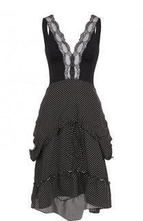 Приталенное платье с V-образным вырезом и оборками Balenciaga