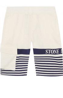 Хлопковые шорты с контрастной отделкой Stone Island